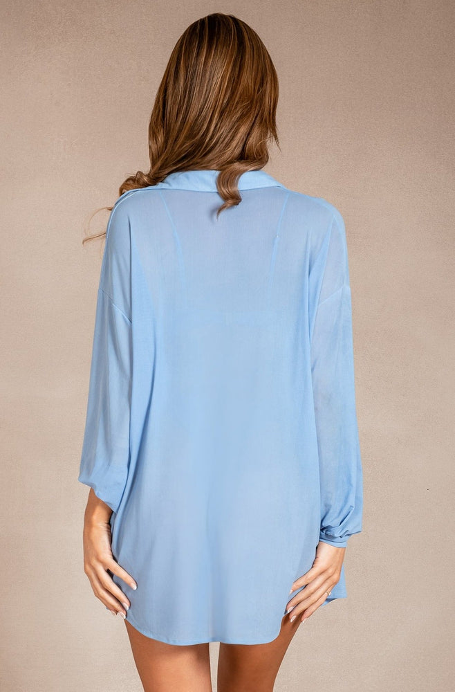 Kayte Mesh Sheer Oversized Shirt Cover Up - Cornflower Blue
