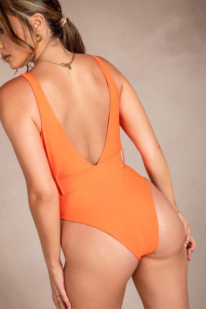 Hadley Belted Plunge One Piece - Orange