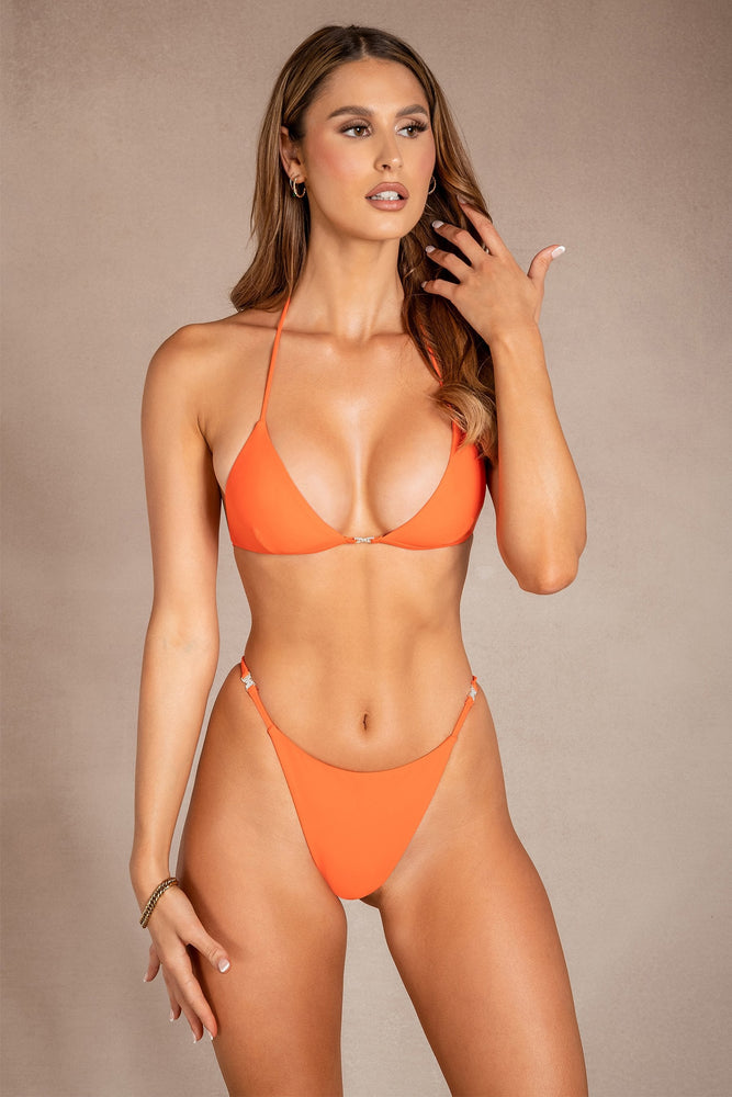 Cosimo Tie Up Meshki Logo Bikini Top - Orange