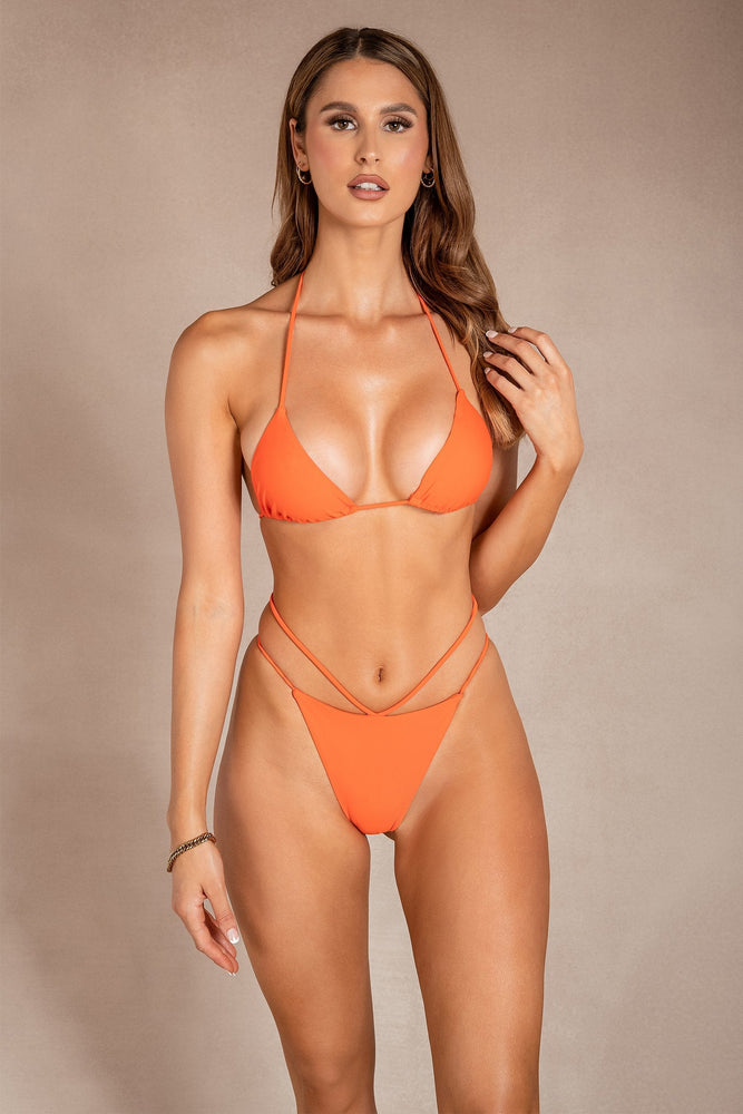 Carley Meshki Logo Brazillian Bikini Bottom - Orange