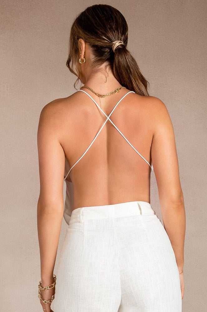 Chloe Plunge Halter Back Crop Top - White