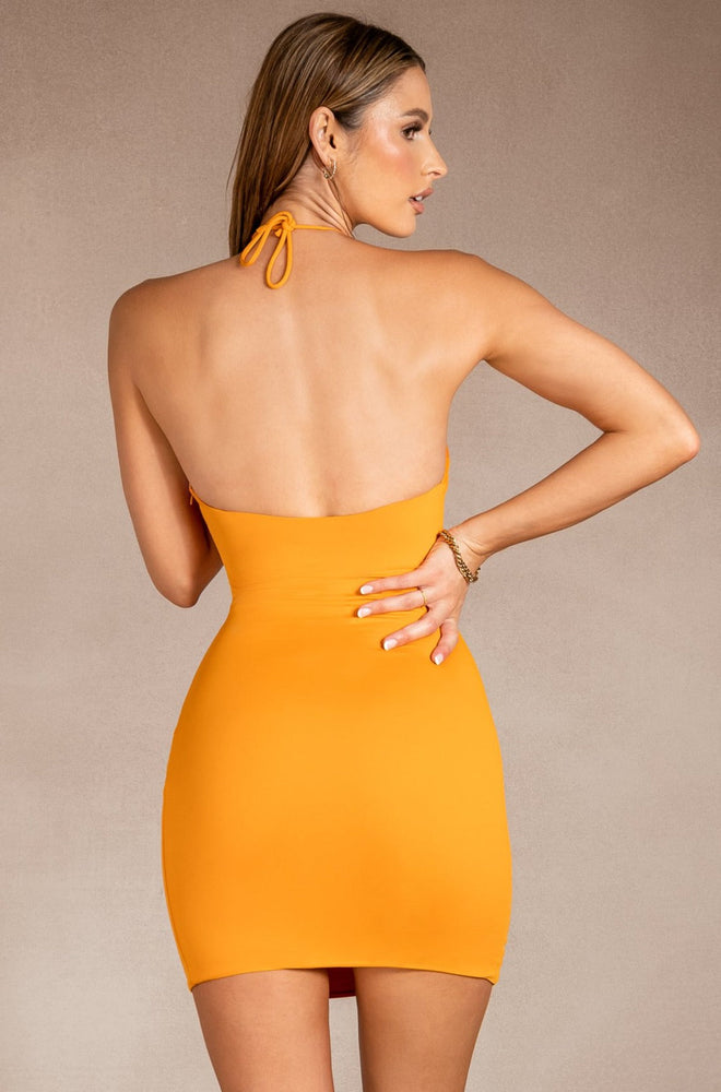 Sinead Halter Neck Anchor Dress - Tangerine