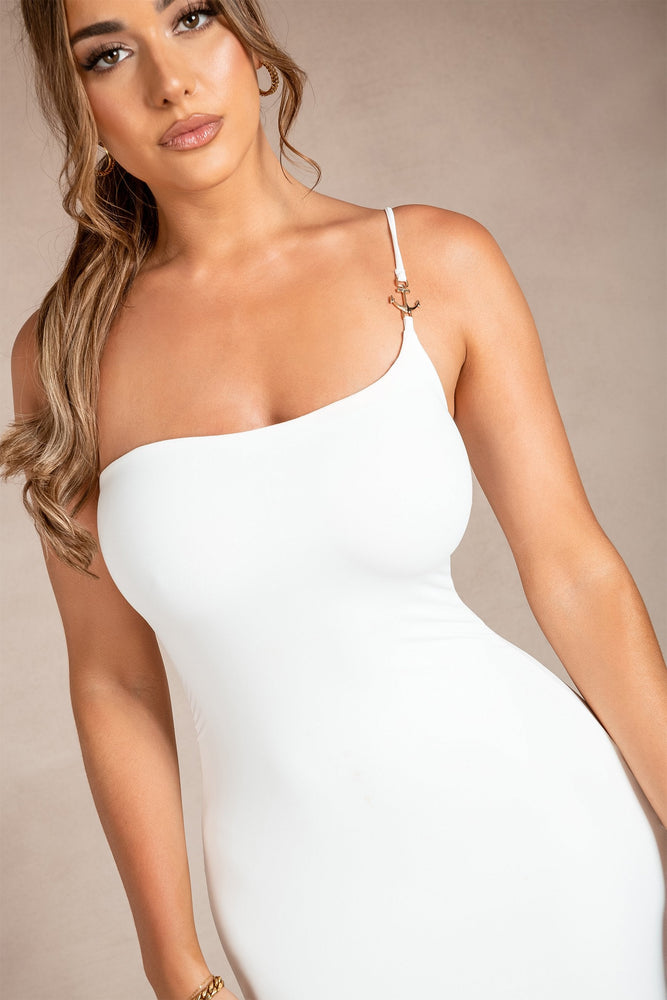 Michelle One Shoulder Anchor Mini Dress - White