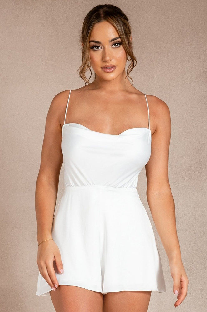 Kelsey Cowl Neck Playsuit - White
