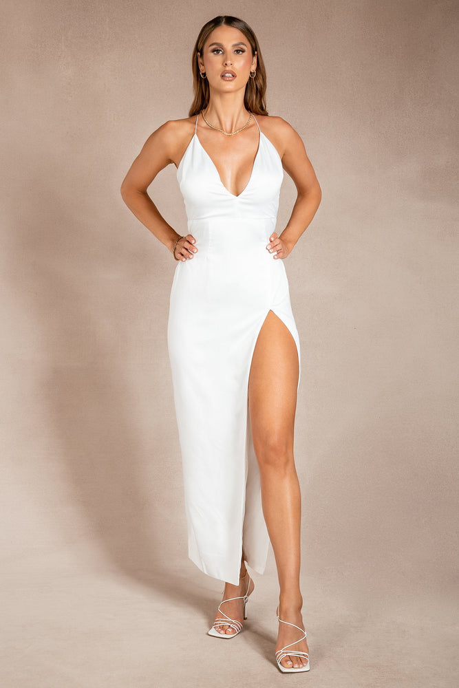 Kristin Split Front Maxi Dress - White