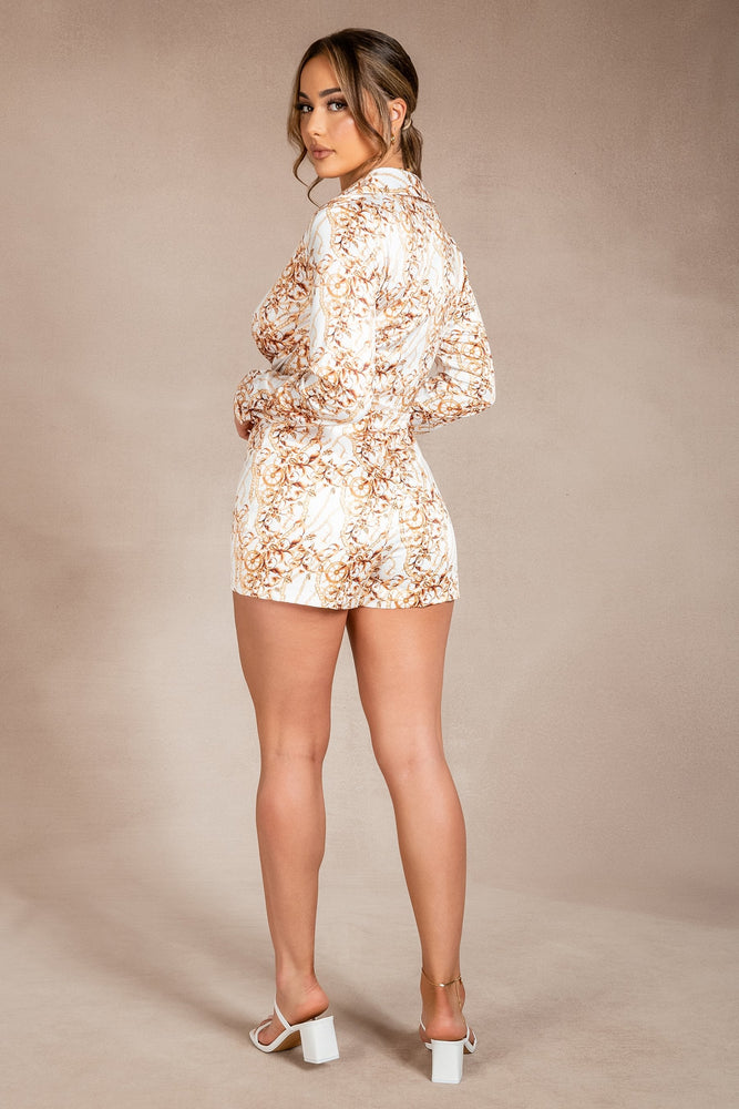 Chandra Tie Front Long Sleeve Playsuit - Catena