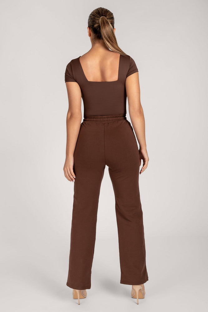 Marni Short Sleeve Square Neck Bodysuit - Chocolate