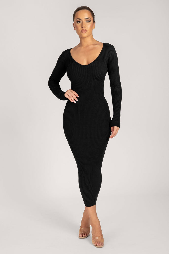 Nina Long Sleeve Ribbed Maxi Dress - Black