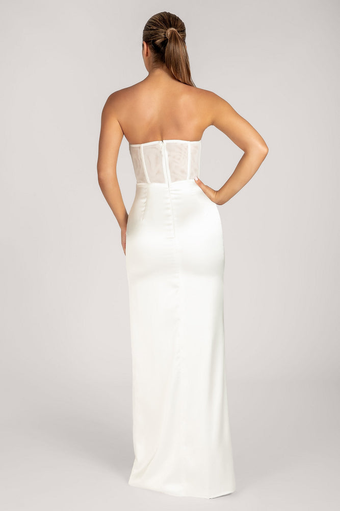 Rheanna Strapless Cowl Neck Corset Maxi Dress - White