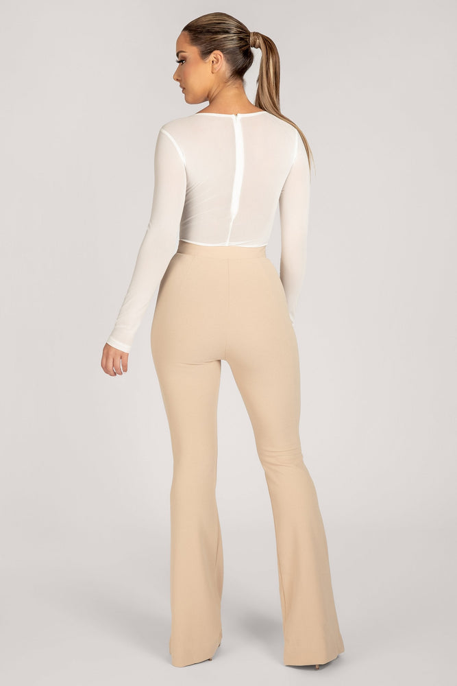 Blaire Mesh Long Sleeve Bodysuit - White