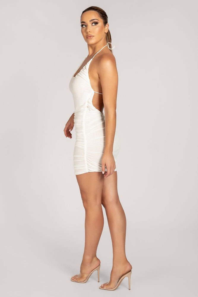 Krista Ruched Halter Back Mini Dress - White