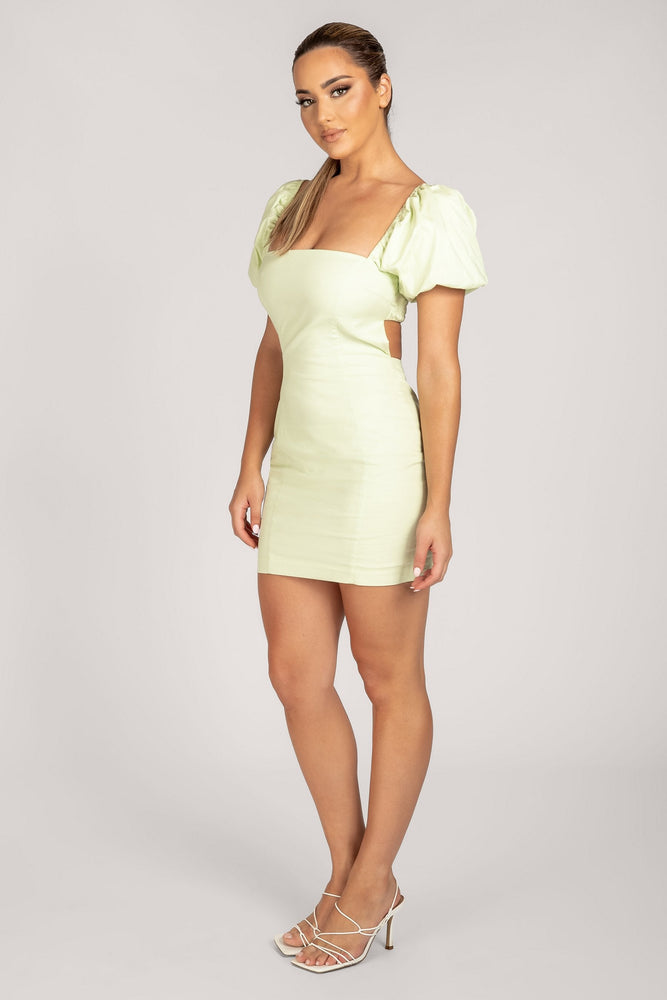 Leonie Square Neck Puff Sleeve Bodycon Mini Dress - Celery