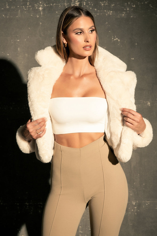 Mary Cropped Faux Fur Jacket - Cream