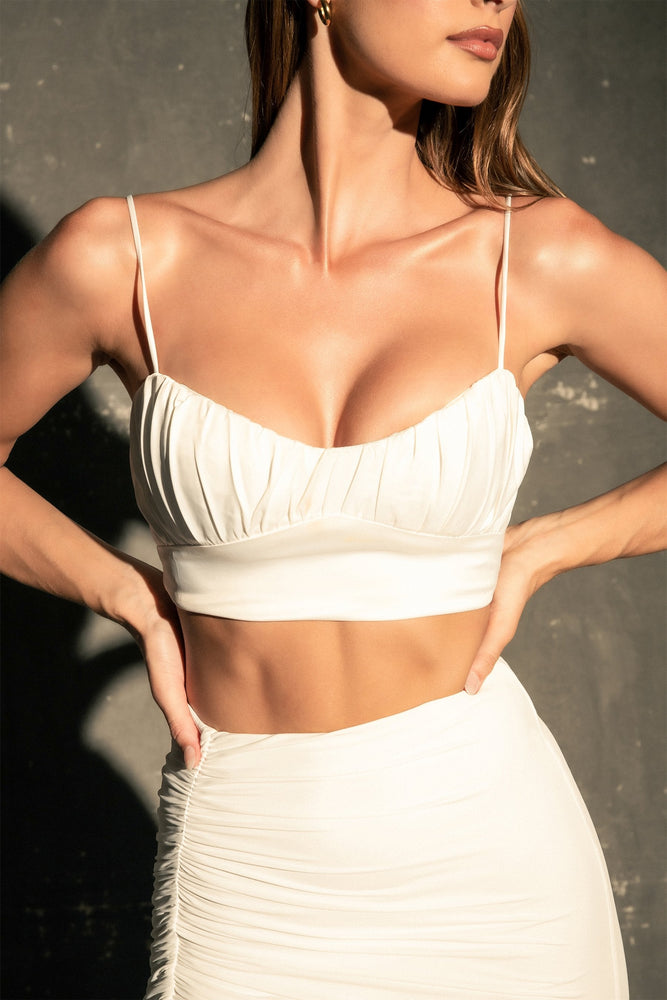 Brea Ruched Bust Crop Top - White