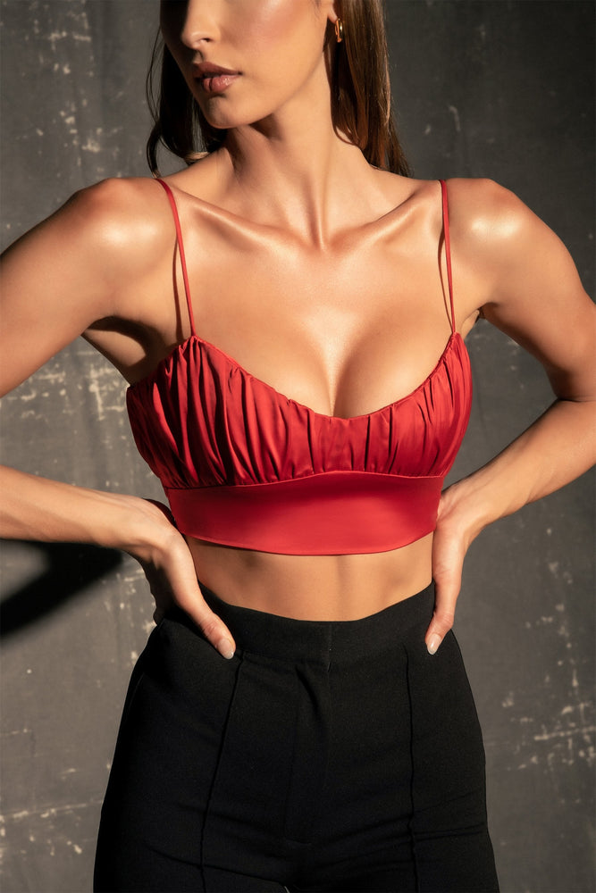 Brea Ruched Bust Crop Top - Red