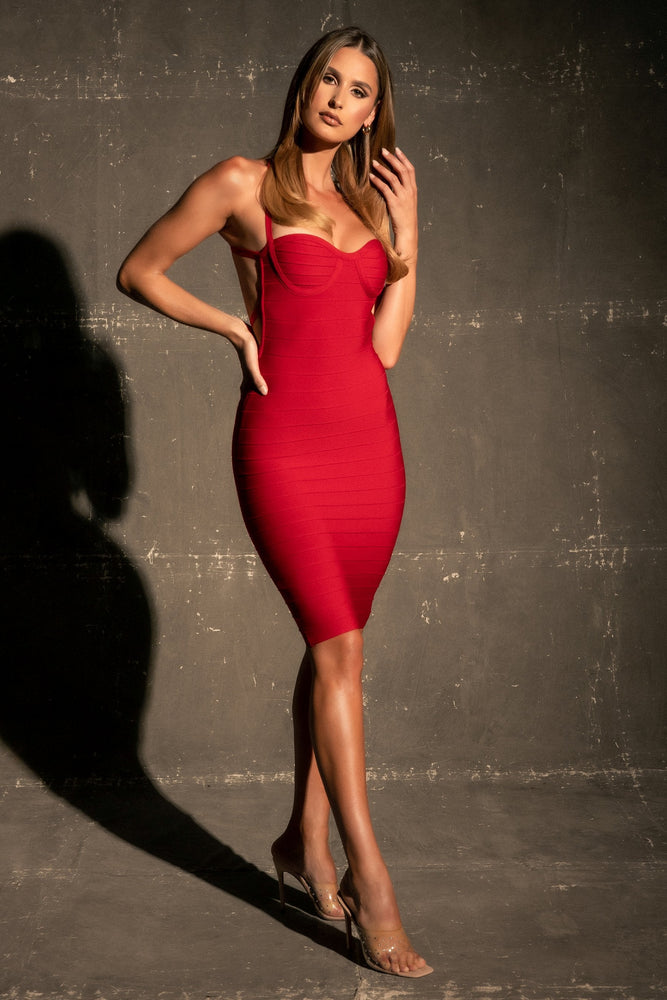Grecia Cupped Bandage Mini Dress - Red