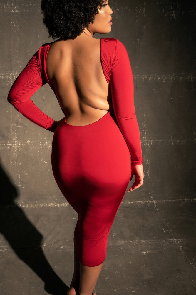 Cami Backless Long Sleeve Midi Dress - Red