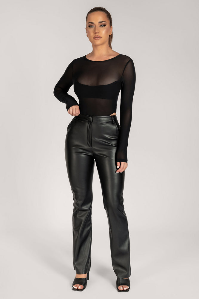 Tyra Wide Leg Faux Leather Pants - Black