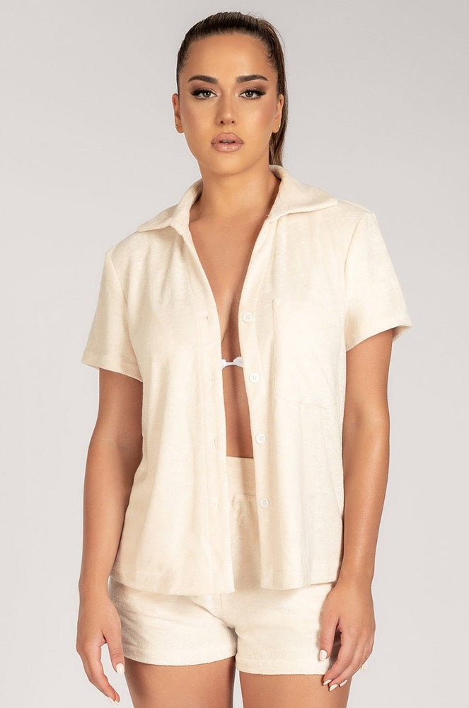 Marina Terry Towelling Long Shirt - Cream