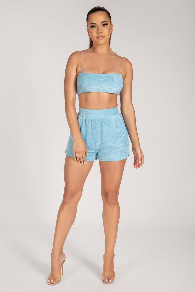Marina Terry Towelling Shorts - Blue