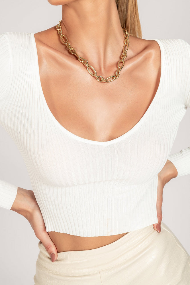 Jada Long Sleeve V Neck Knitted Top - White