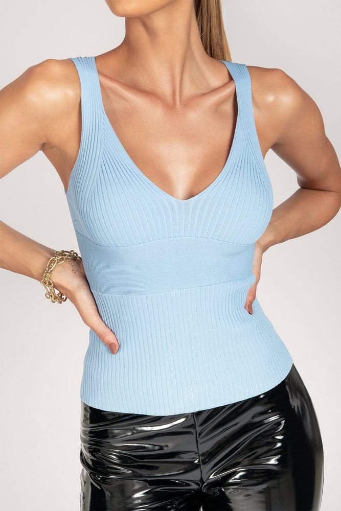 Farren Variated Rib Plunge Top - Cornflower Blue