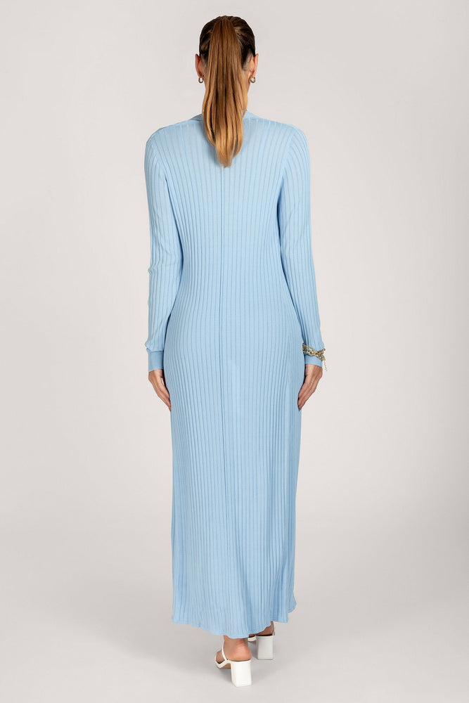 Tia Ribbed Sheer Knit Maxi Cardigan - Cornflower Blue