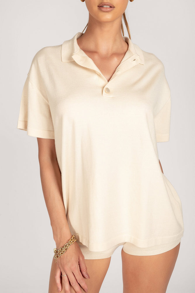 Josephine Loose Knitted Oversized Polo - Cream