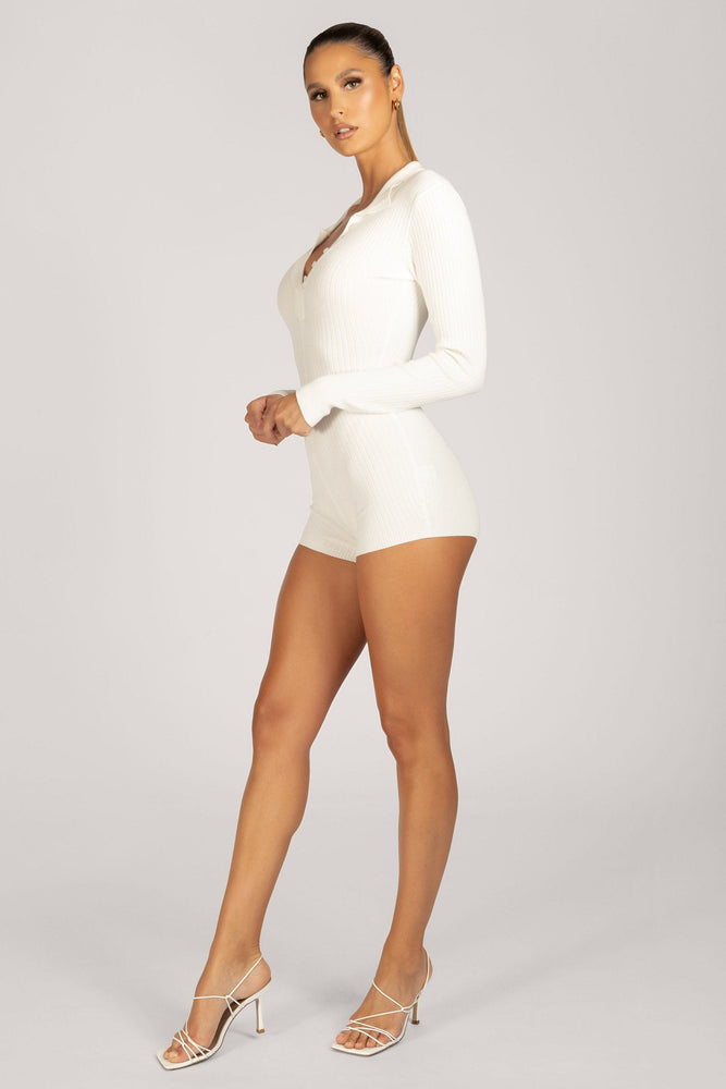 Cecily Long Sleeve Rib Knitted Playsuit - White