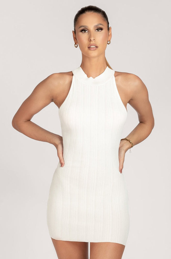 India Halter Neck Variated Rib Mini Dress - White