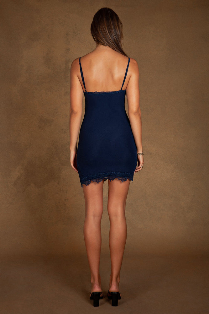 Elizabella Lace Trim Side Split Mini Dress - Navy