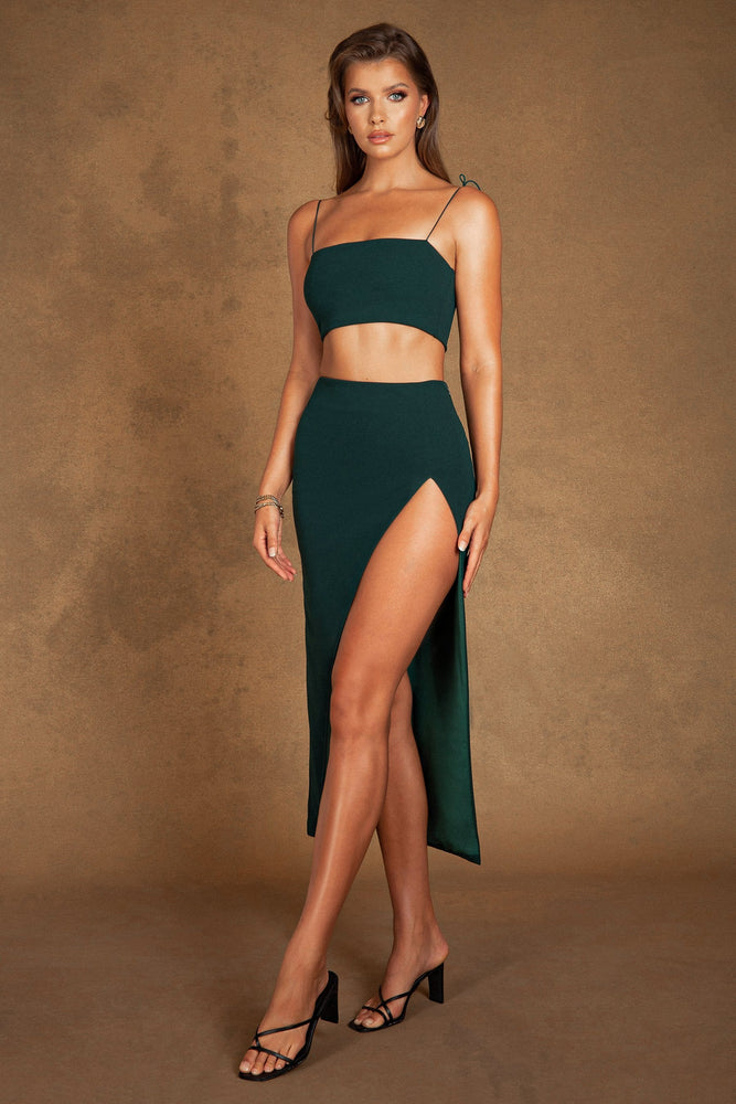 Arla High Waist Thigh Split Maxi Skirt - Forest Green