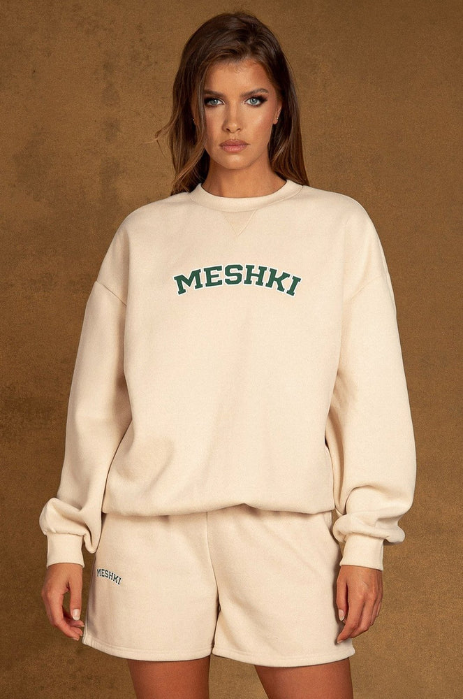 Heather Crew Neck Oversized Sweater - Cream