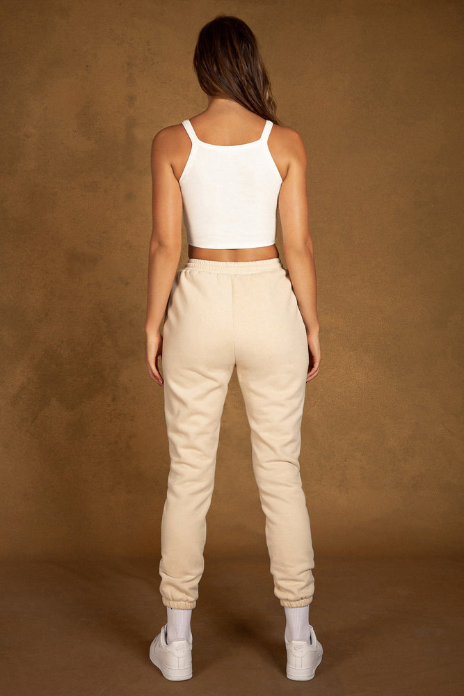 Phoebe Fleece Slim Jogger - Cream