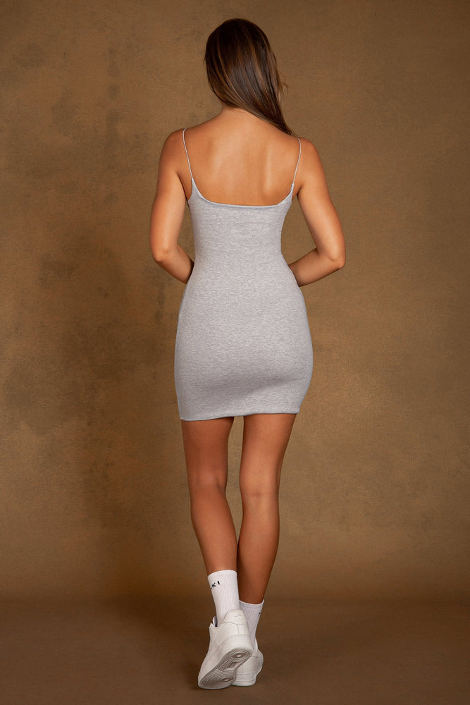Eleonora Cami Graphic Mini Dress - Grey Marle