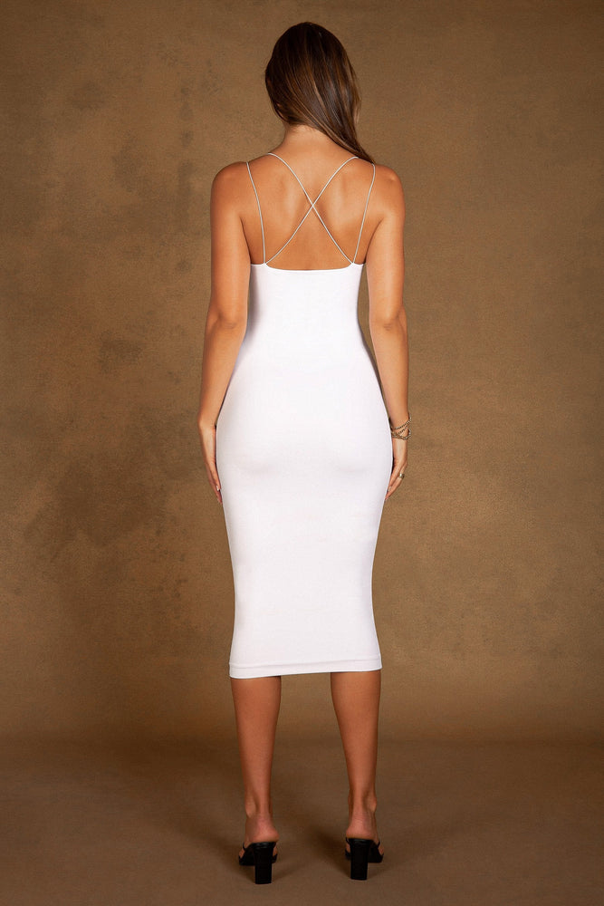 Cecile Double Strap Mia Midi Dress - White
