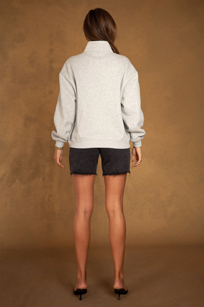 Carolina Half Way Zip Oversized Sweat - Grey Marle