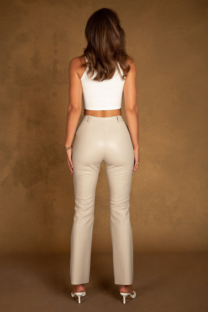 Tyra Wide Leg Faux Leather Pants - Nude
