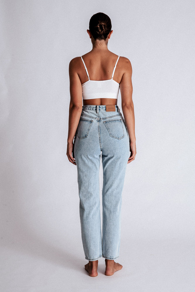 Suki Ripped Knee Straight Leg Jeans - Light Blue