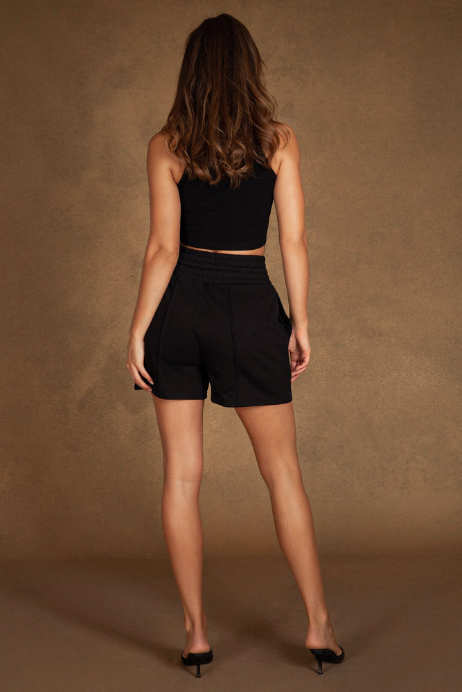 Zora Ruched Detail Longline Short - Black