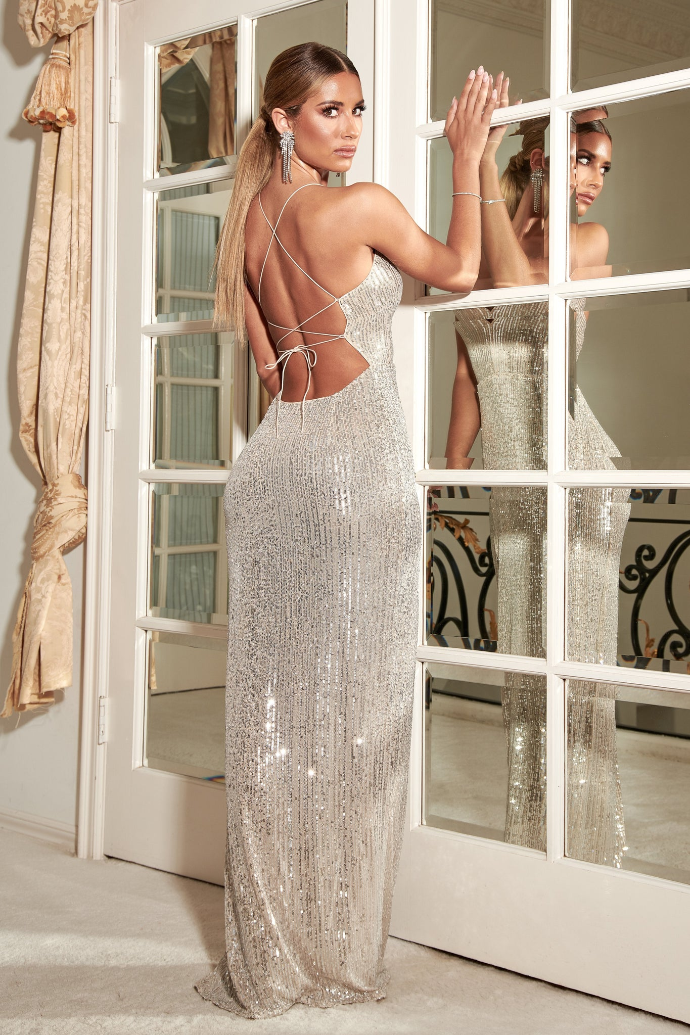Emilia Sequin Strappy Back Gown - Silver - MESHKI
