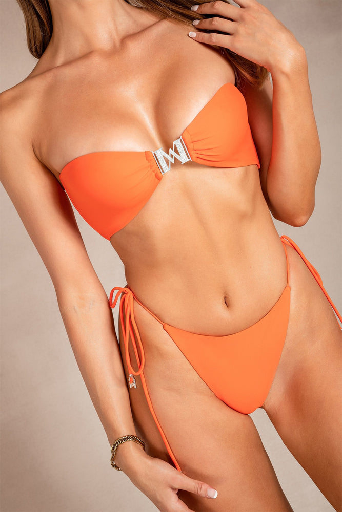 Aliza Tie Up Bikini Bottom - Orange