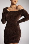 Alegra Chenille Off The Shoulder Dress - Chocolate