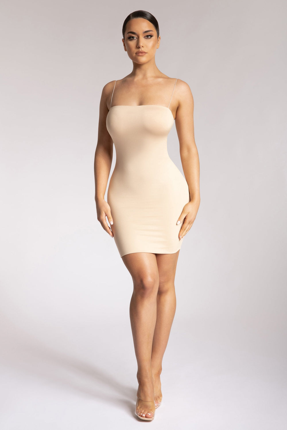 Mia Thin Strap Bodycon Mini Dress - Nude - MESHKI ?id=15419664629835