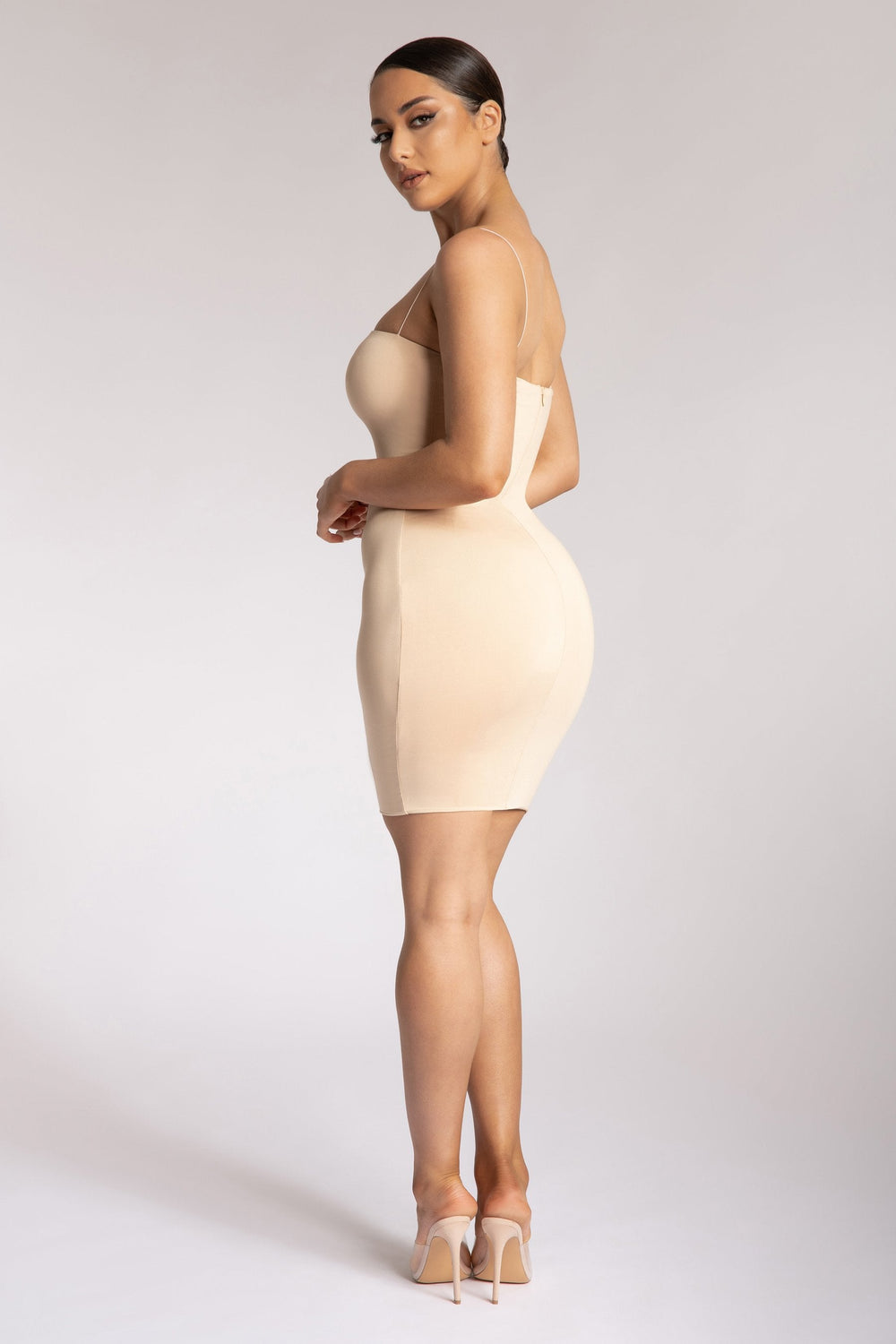 Mia Thin Strap Bodycon Mini Dress - Nude - MESHKI ?id=15419664728139