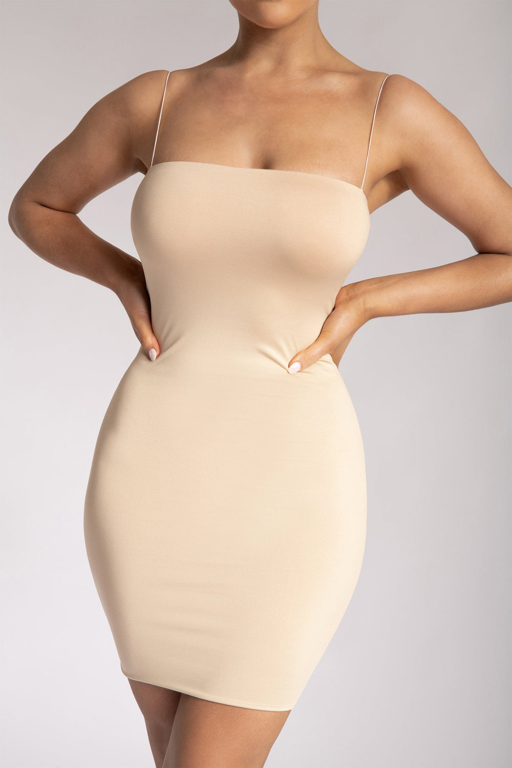 Mia Thin Strap Bodycon Mini Dress - Nude - MESHKI ?id=15419664662603