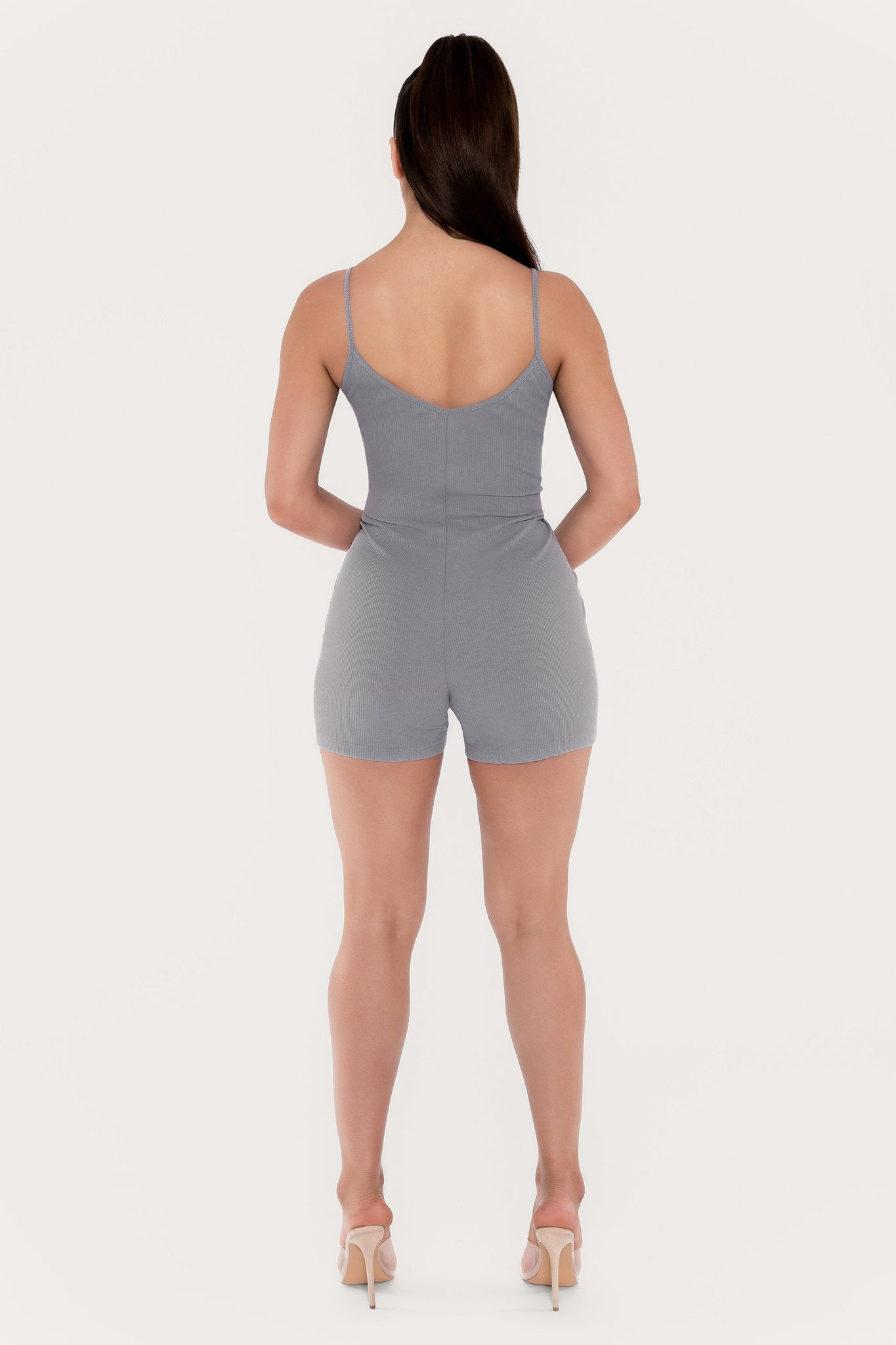 Aria Fitted Ribbed Playsuit - Grey - MESHKI