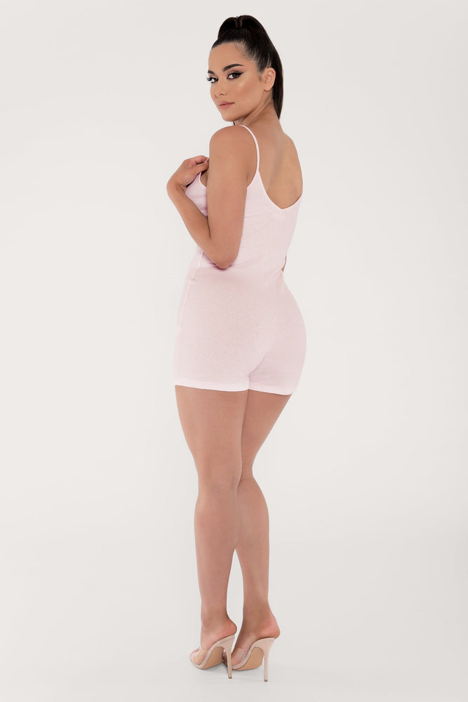 Aria Fitted Ribbed Playsuit - Baby Pink