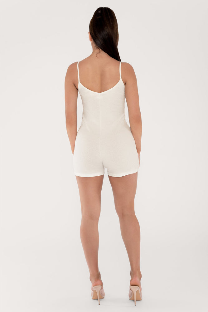 Aria Fitted Ribbed Playsuit - Cream - MESHKI