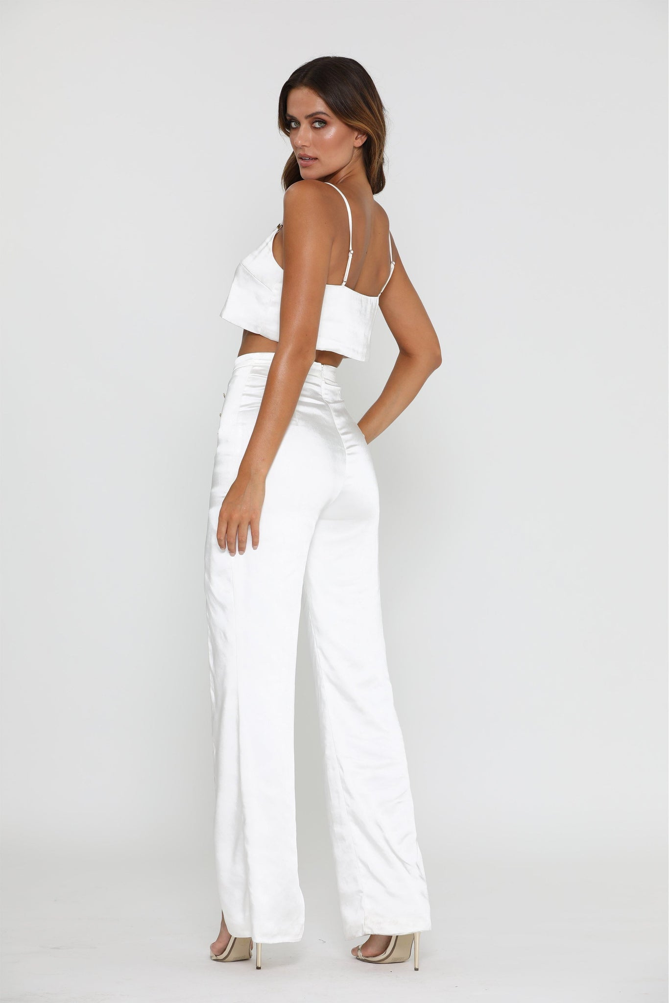 Tala Satin Crop Top - Ivory - MESHKI
